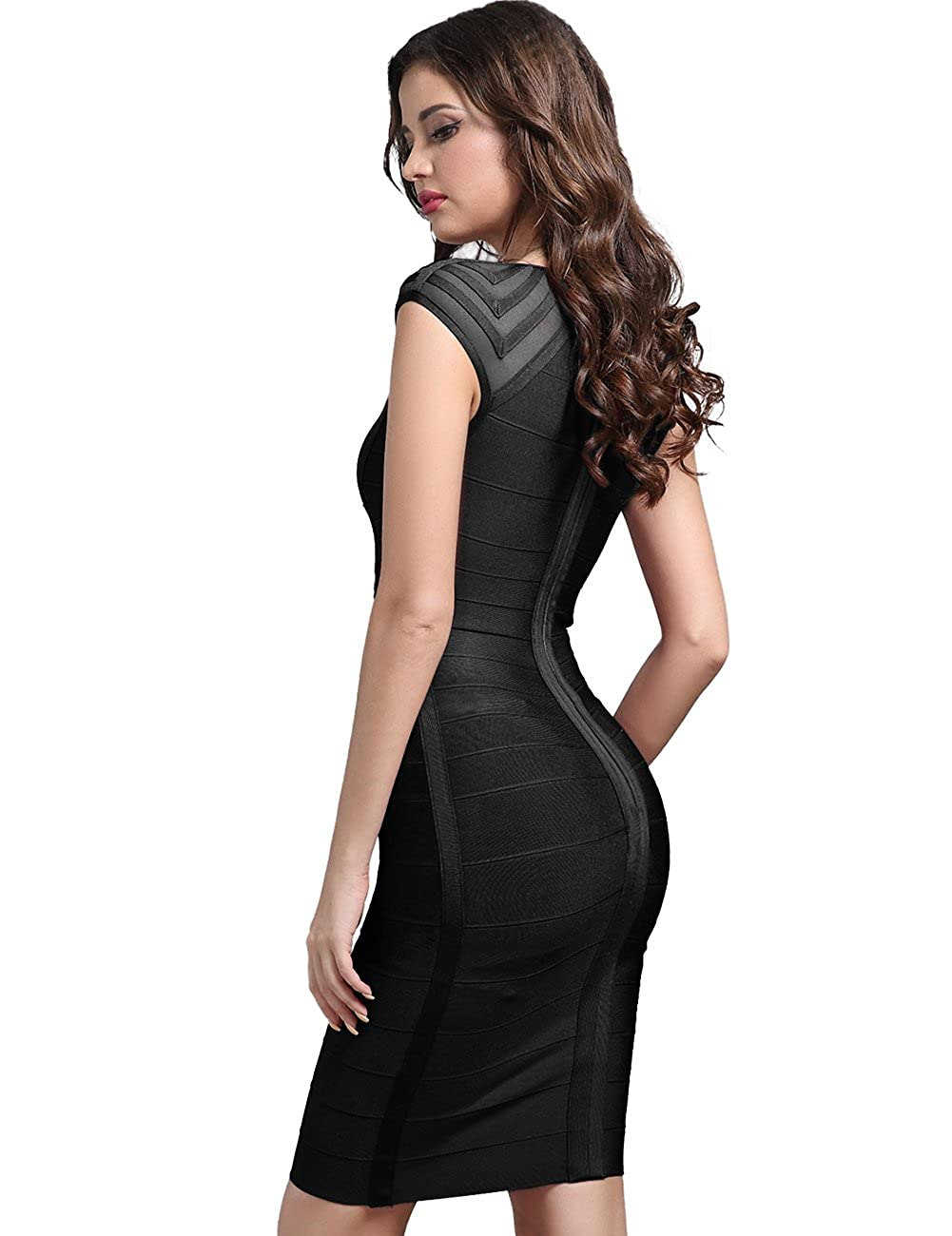 ffe68a9462 Adyce Mujer Bandage-Dress Ropa Disfraz Sexy Vestido Rojo Tipo Midi Mostrar  Mostrar Elegancia britš¢nica Antes de la Boda (Black