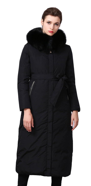 Black MedzRE Women's Winter Outwear FurHood Long Length Thick Down Jacket
