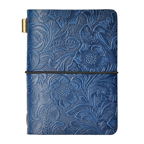 Refillable Travelers Notebook Vintage Flower Embossed Small Leather Journal, 3.9