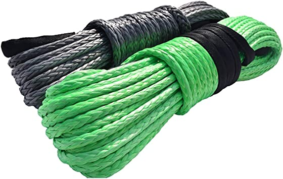 Grey 3//8 50ft Winch Rope Extension,10mm ATV Winch Cable Synthetic Rope,Towing Rope for Offroad Auto Parts