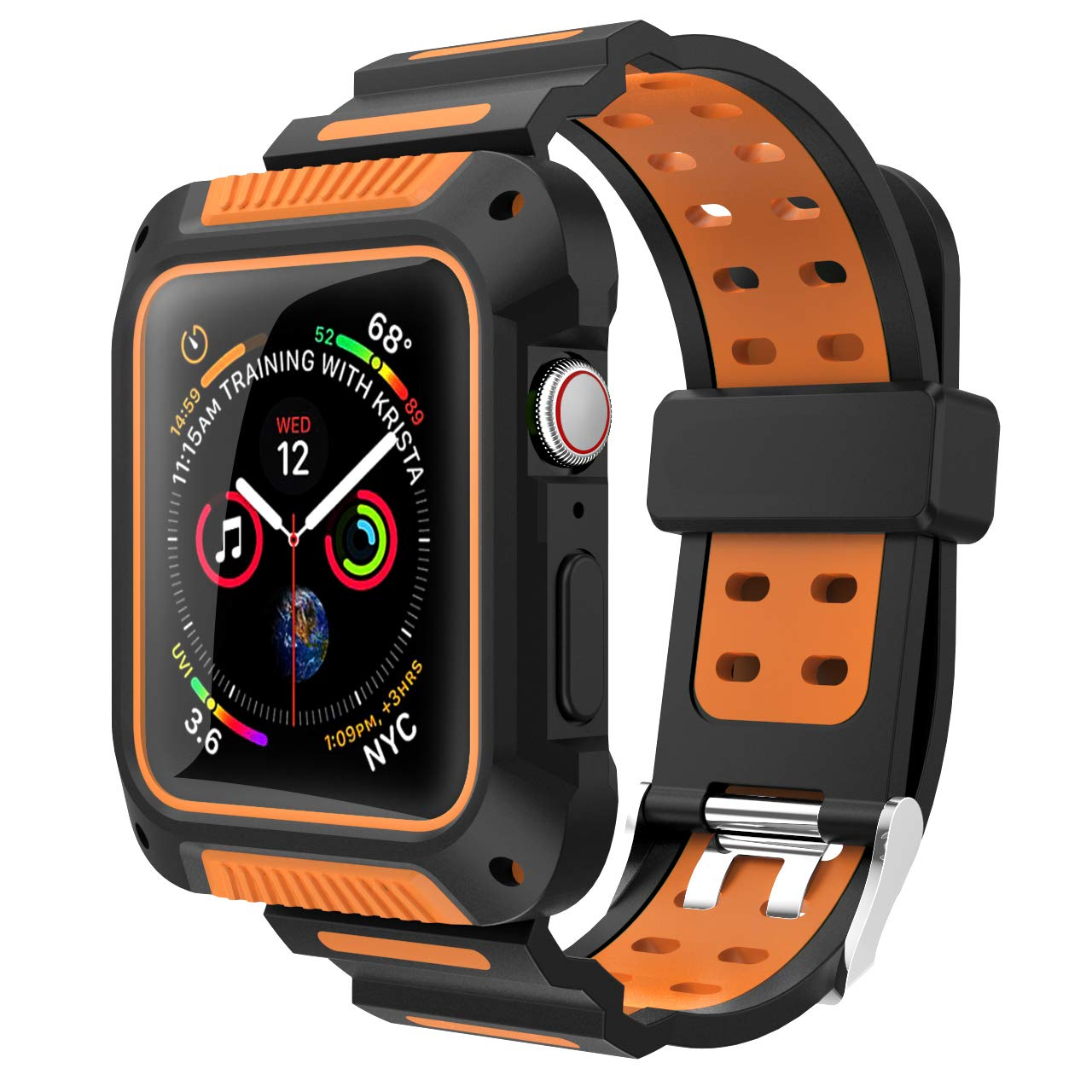 Compatible with Apple Watch Band 44mm Case, VORI Rugged Protective Case with Sport Silicone Strap Bands Shock-Proof and Shatter-Resistant Case for iWatch Series 4 Edition 44mm Men 2018 Release, Orange by VORI