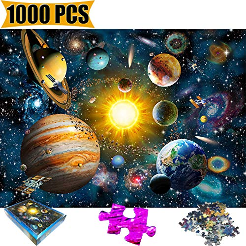 1000 Piece Jigsaw Puzzle Space Puzzle Universe Universal Sun Earth Star Satellite Cosmos Kids Adult Children Planets in Solar System Space Jigsaw Puzzles(Space) for $<!--$18.95-->