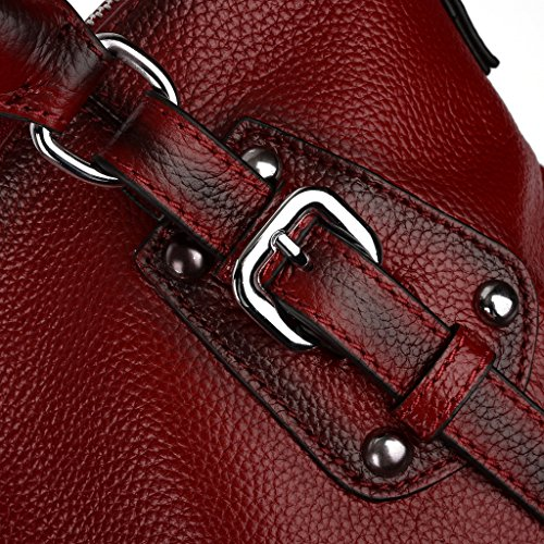 Bag UPDATED Classic VERSION Shoulder Women's Red Leather Vintage Soft Work Tote Genuine Yaluxe Handbags qqgrw