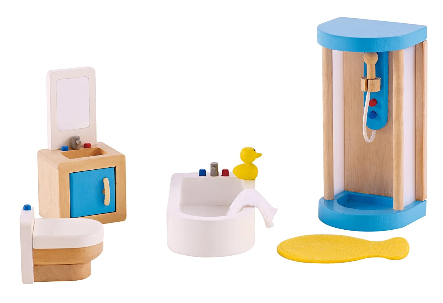 Amazon com hape wooden doll house furniture family bathroom set toys games