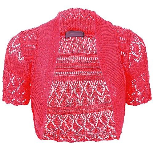 - Thever Women Short Sleeve Knitted Crochet Shrug Bolero Cardigan Ladies Crop Top (2XL(20-22), Fuchsia)