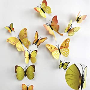 36pcs 3D Colorful Butterfly Wall Stickers DIY Art Decor Crafts for Party Nursery Classroom Offices Kids Girl Boy Baby Bedroom Bathroom Living Room Magnets and Glue Sticker Set (YELLOW-single wing)