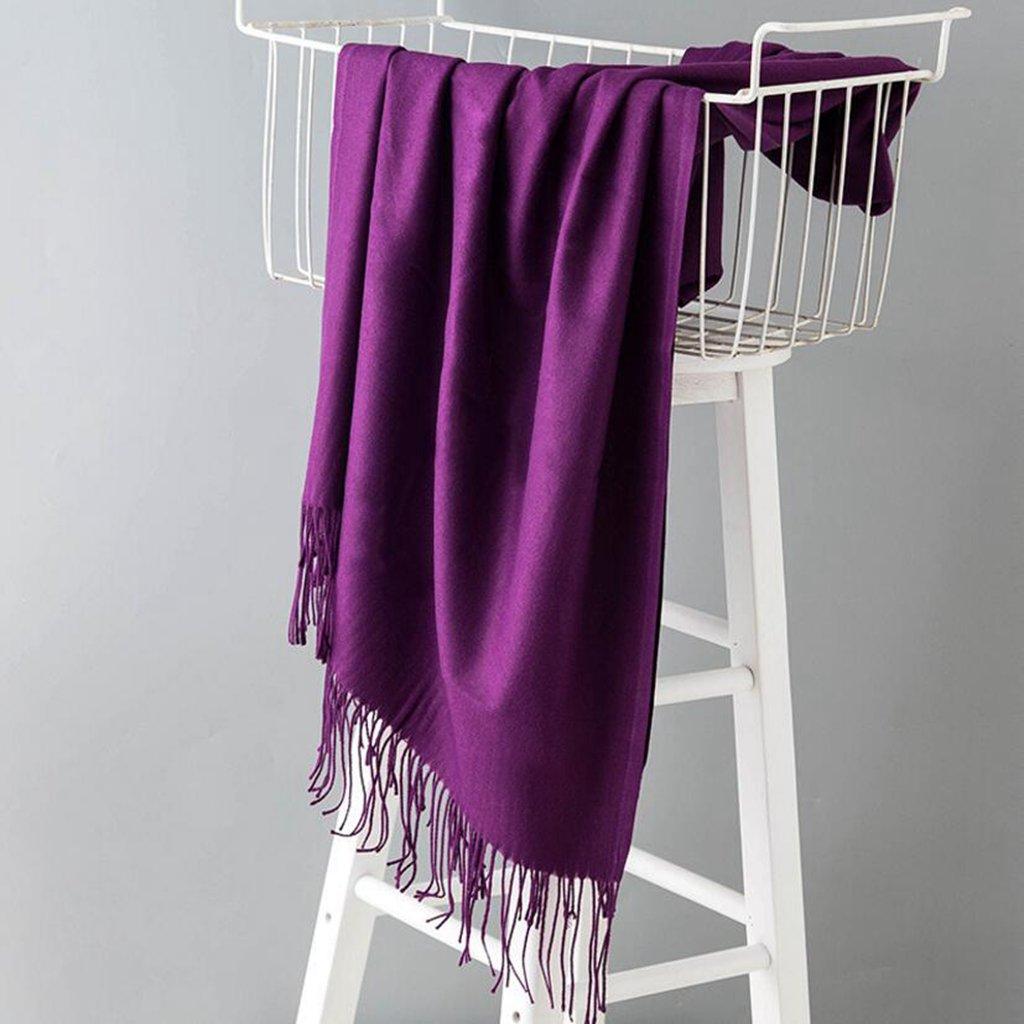Longless Bufandas mujer invierno sección larga de color sólido de la primavera y el otoño Mantón grande cuello doble cálida