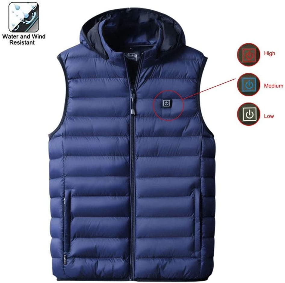 jaspenybow Mens Electric Heated Vest USB Charging Heated Vest Rechargeable Lightweight Waistcoat Heating Warm Clothes for Autumn Winter Electric Body Warmer Wrap Jacket Cloth