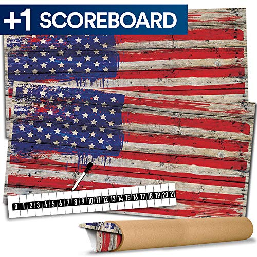 Cornhole Board Skin Wrap Decal - Vinyl Tournament Corn Hole Bean Bag Toss Sticker - Weather Resistant USA Flag Board Game - For Children Adults Colleges Festivals & Bars - 48.5 x 24.5 inches