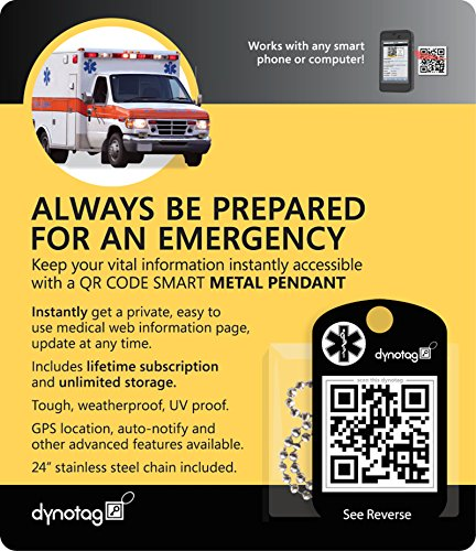 Dynotag Web/GPS Enabled QR Smart Military Style Medical/Emergency Info. Metal Pendant & Chain Set