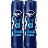 NIVEA, MEN, Deodorant, Fresh Active, Spray, 2 x 150 ml