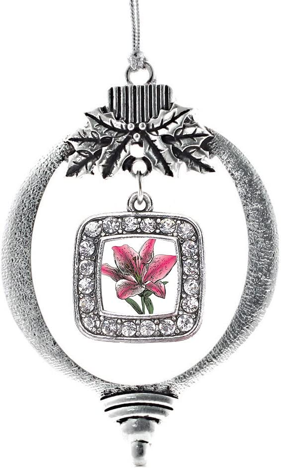 Amazon Com Inspired Silver Lily Flower Charm Ornament Silver Square Charm Holiday Ornaments With Cubic Zirconia Jewelry Home Kitchen