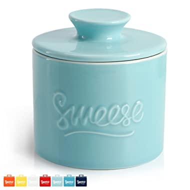 Sweese 3106 Porcelain Butter Keeper Crock - French Butter Dish - No More Hard Butter - Perfect Spreadable Consistency, Turquoise