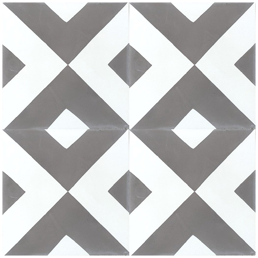 Rustico Tile and Stone RTS7 Diamond Geometric Pattern Cement Tile Pack of 13, 8x8, Gray and White by Rustico Tile and Stone