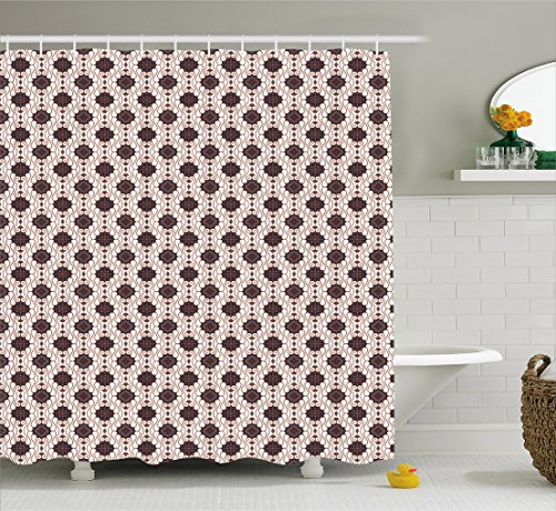 Asian Shower Curtain by Ambesonne, Javanese Batik Pattern with Geometric Influences Dots Lines and Rhombuses, Cloth Fabric Bathroom Decor Set with Hooks, 75 Inches Long, Dark Blue Brown (Dot Geometric Shower Curtain)
