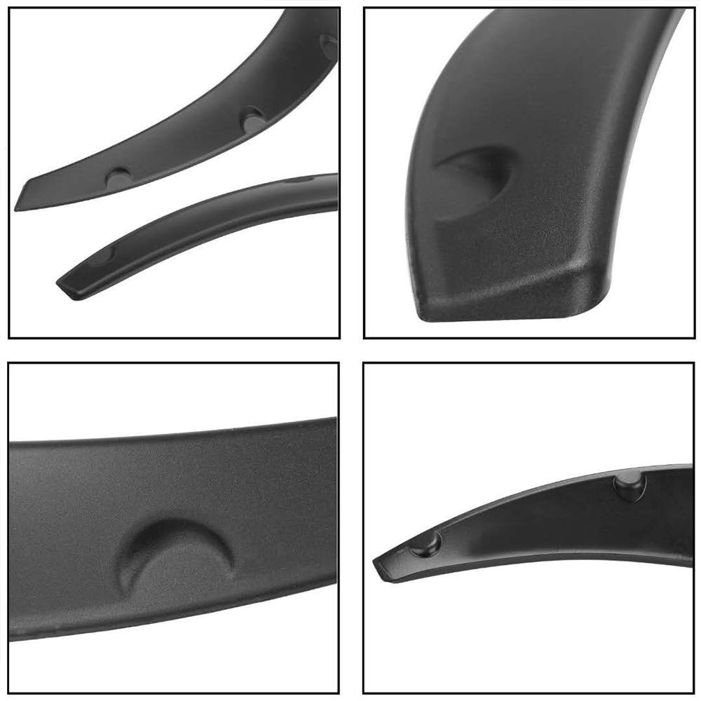 Heart Horse Fender Flares for Chevy Silverado and Most Car Universal Flexible Wheel Arch ,Car Trim Guards Repaintable Parts (4pcs Gloss Black)