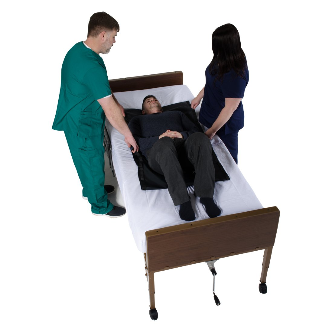 Tubular Reusable Slide Sheet with Handles for Patient Transfers, Turning, and Repositioning In Beds, Hospitals and Home Care, Sliding Draw Sheets to Assist Moving Elderly and Disabled (48''L x 28''W)