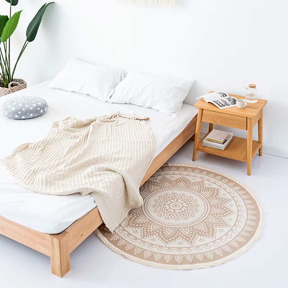 JXwang Teppich Wohnzimmer Runde Schlafzimmer Teppiche Wohnzimmer Couchtisch Teppich Rutschfeste Moderne Matten 120 cm (47 Zoll),Beige