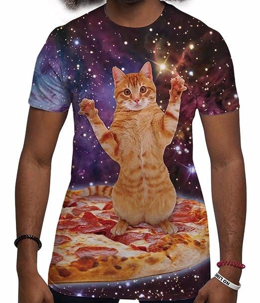 Camisetas Totalmente Impresas por sublimación para Hombre con Gato Espacial Ropa para Festivales: Amazon.es: Ropa y accesorios
