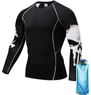 274d24ec32d3 1Bar Long Sleeve Rash Guard Compression Shirt Punisher BJJ MMA Wrestling  Workout Plus Free Water Bottle