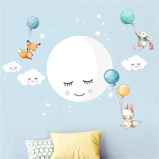 Little Deco Wandsticker Kinderzimmer Madchen Junge Mond Wolken Tiere Ballon Blau Turkis I M 82 X 50 Cm Bxh I Wandtattoo Fuchs Hase Maus Babyzimmer Wandaufkleber Dl433 Amazon De Kuche Haushalt