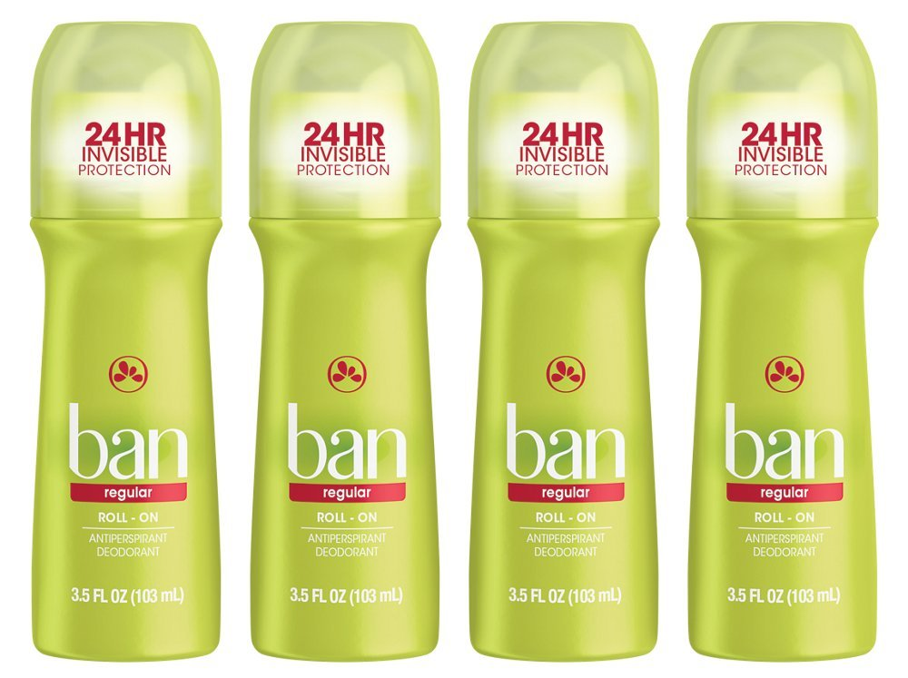 Ban Roll-On Regular Deodorant, 3.5 Ounce (Pack of 4)