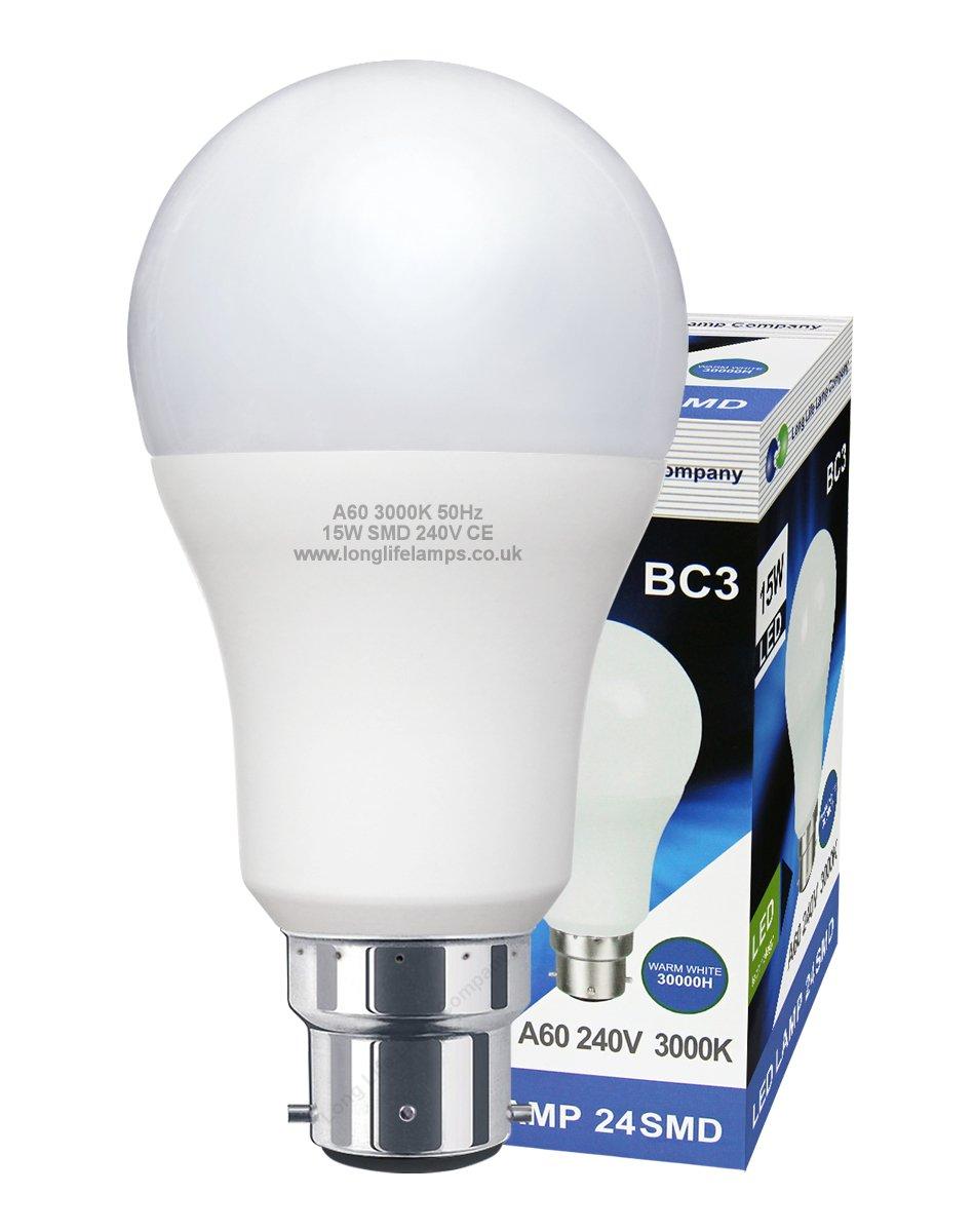 3 Pin BC3 Light Bulb LED 15w Energy Saving Non Dimmable 240v 3000k Warm White High Brightness Long Life Lamp Company