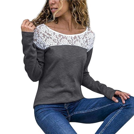 stretch Lace Blume Spitze kurzärmelig Bluse rundhals Oberteil locker T-Shirt