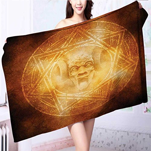 also easy Luxury Plush Bath Towel Demon Trap Symbol Logo Ceremony Creepy Ritual Paranormal Design Orange High Absorbency L39.4 x W19.7 INCH by also easy