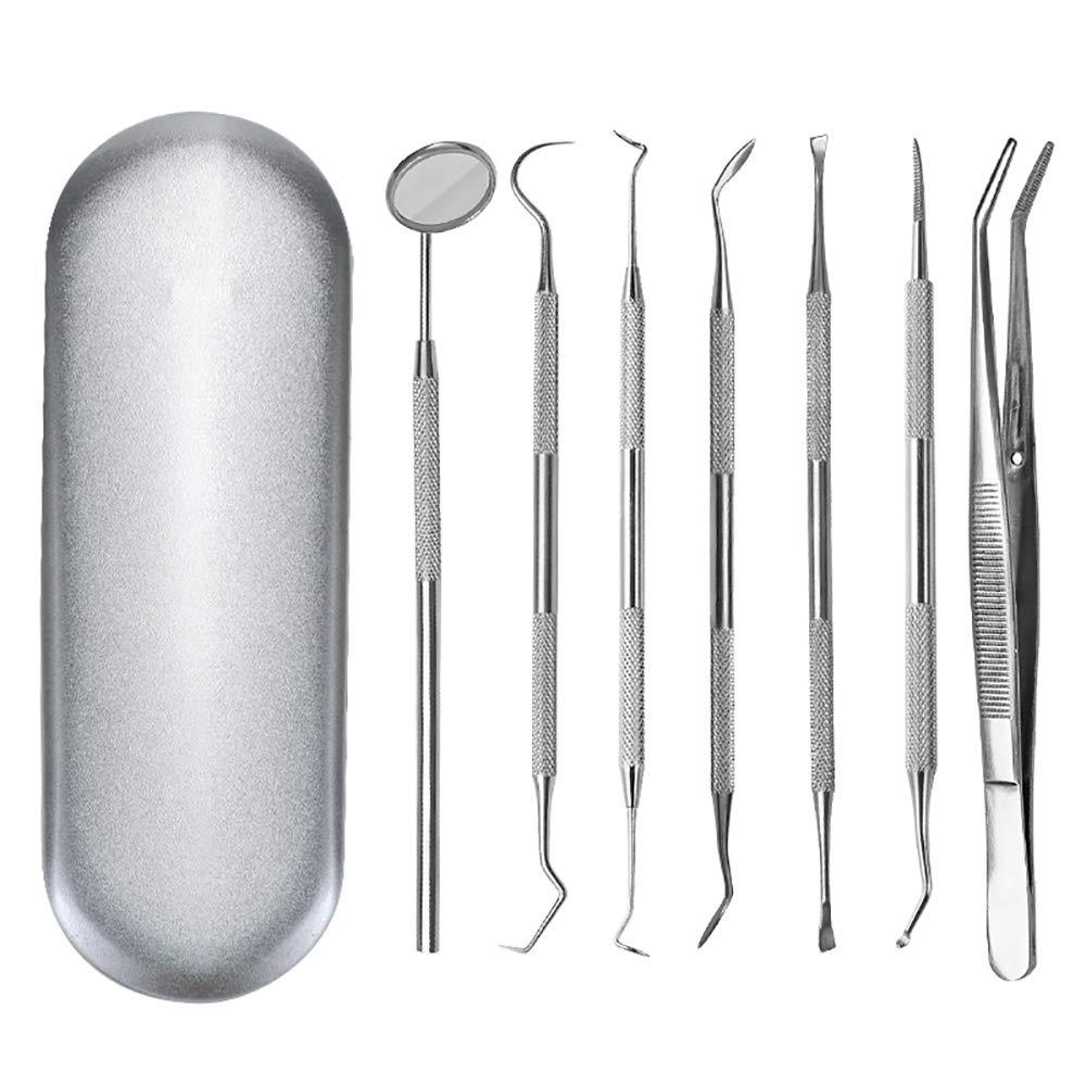 ZUEN 7 Pcs Dental Kit, Tainless Steel Tooth Scraper Mirror Scale Set Tartar Calculus Plaque Remover Dental Scaler Tweezers Mouth Mirror Dental Tools Kit