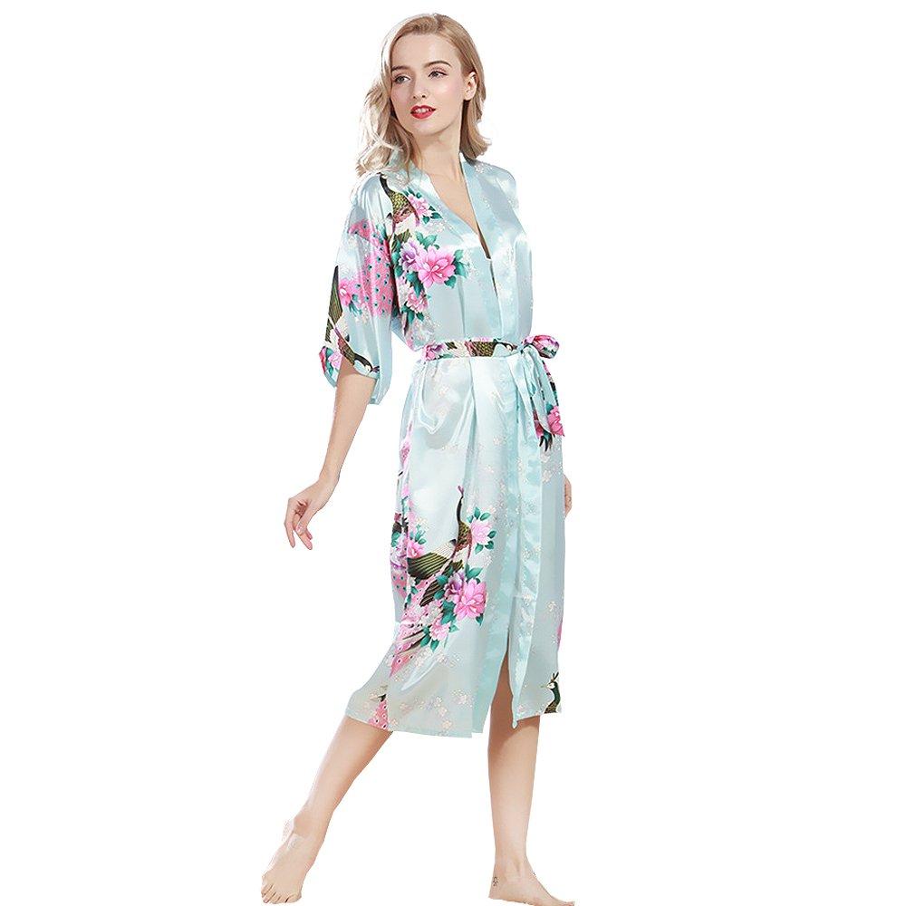 Lencería Pijama Albornoces Kimono Vestido Largo de Satén de Spa de Estampado Pavo Real y Flores para Mujer: Amazon.es: Ropa y accesorios