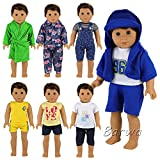 Barwa Boy Doll Clothes 7sets Boy Doll Clothes Daily Casual Clothes Outfits for 18 Inch American Girl & Boy Dolls Logan Doll Outfits