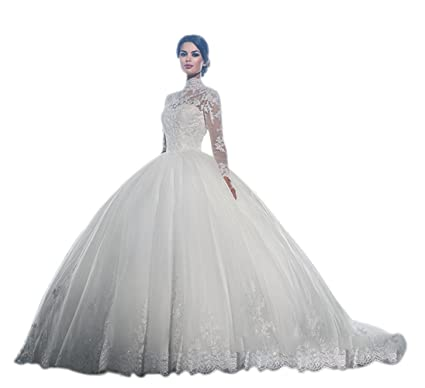 JJ-GOGO White High Neck Long Sleeves Wedding Dress Lace Ball Gown ...
