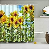 Fangkun Shower Curtain Sunflower 3D printing Bath Curtains - Waterproof, Soap, and Mildew resistant - Polyester Fabric Bathroom Decor Set - Shower Hooks are Included (72 x 72 inches, YL031#)