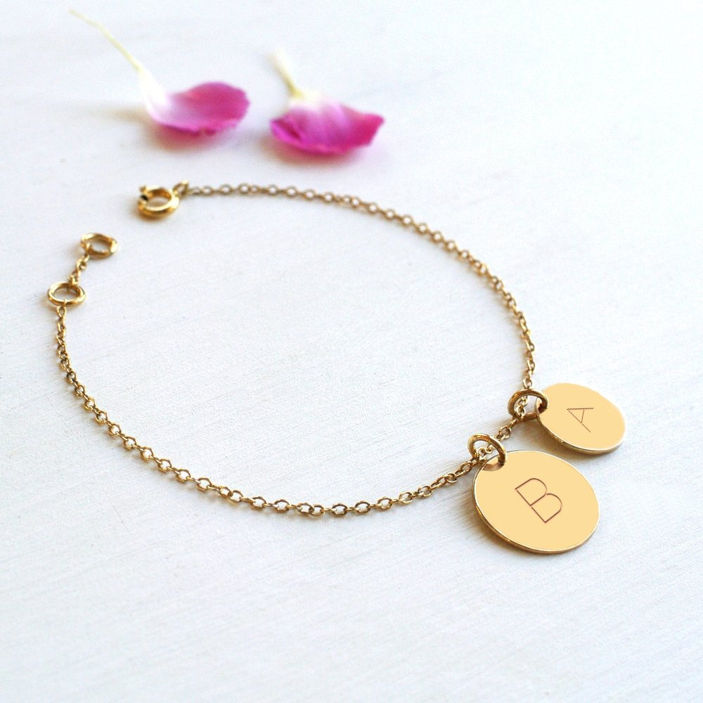 Personalised Gold Double Initial Disc Bracelet