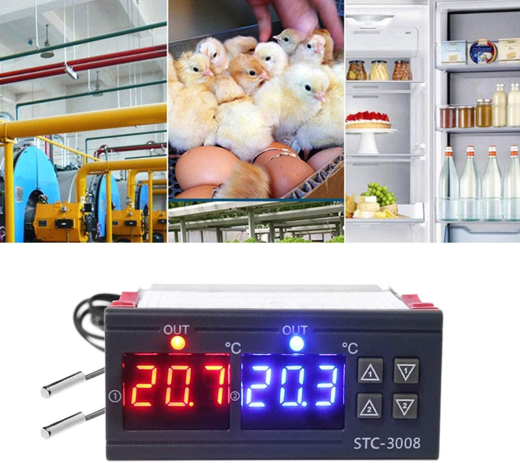 BIlinli Contr/ôleur de temp/érature Double Thermostat Double Thermostat 10A DC 12V