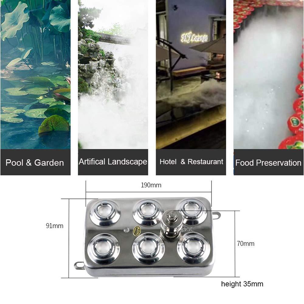 HUKOER Nebulizador ultras/ónico fabricante de niebla 24V Humidificador de aire de la charca de agua fuente de niebla humidificador Adecuado para agua Estanque 10 cabezas