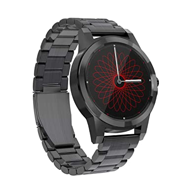 Diggro Bluetooth Smart Watch DI02 DI03 MTK2052C Heart Rate Monitor Pedometer Sleep Monitor Microphone Speaker Siri for Android iOS (DI03 Black Steel)