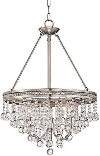 "Regina Brushed Nickel Pendant Chandelier 19"" Wide Clear Crystal Baubles 3-Light Fixture"