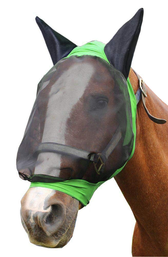 (Full, Lime Green) Derby Extra Comfort Lycra Grip Fly Mask with Ears Horse and Mini