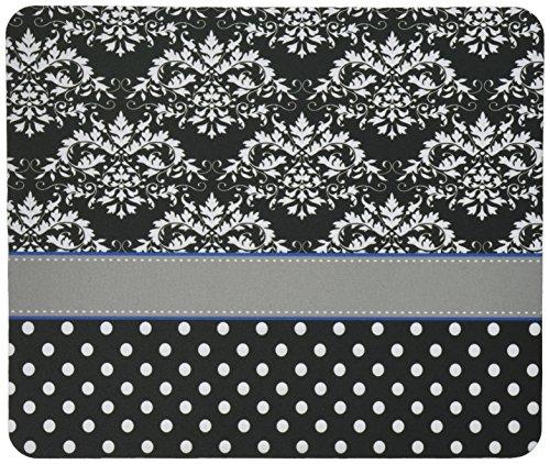 Rikki Knight Initial Grey Blue Black Damask Dots Design Lightning Series Gaming Mouse Pad (MPSQ-RK-44589)