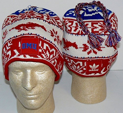 adidas NCAA Officially Licensed Southern Methodist University Mustangs Tassled Beanie Hat Cap Lid Toque