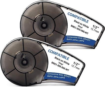 1x Vinyl Labe Tape M21-500-595-WT//BK For Brady BMP21-PLUS Label Printer 12.7mm