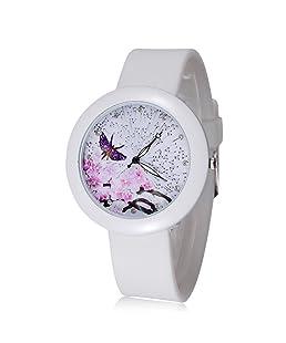 ufengke® romantico viola farfalla prugna fiore vestito dial polso orologio da polso per signore ragazze,numeri di strass orologi cinturino in gomma