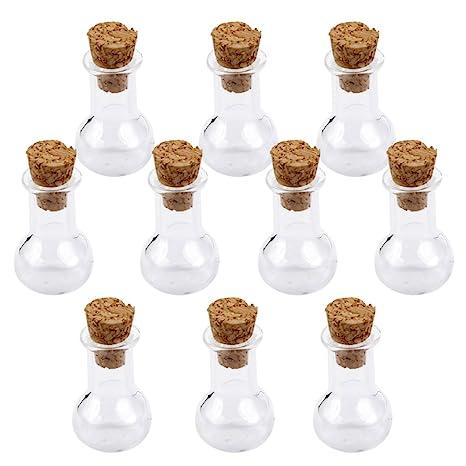 10pcs Mini Botellas de Vidrio con Corcho para Decoración DIY Artesanía