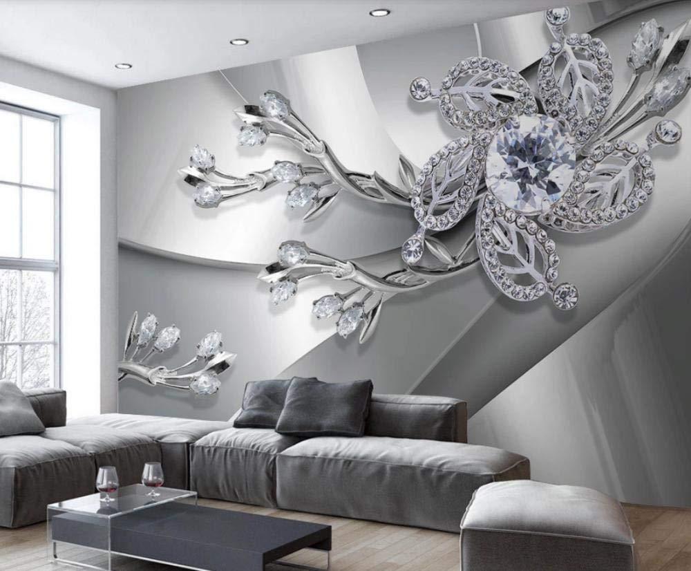 Papel Pintado Joyas De Diamantes Con Textura De Metal Fotomural 3D Mural Papel Tapiz Pared Moderno Murales Wallpaper
