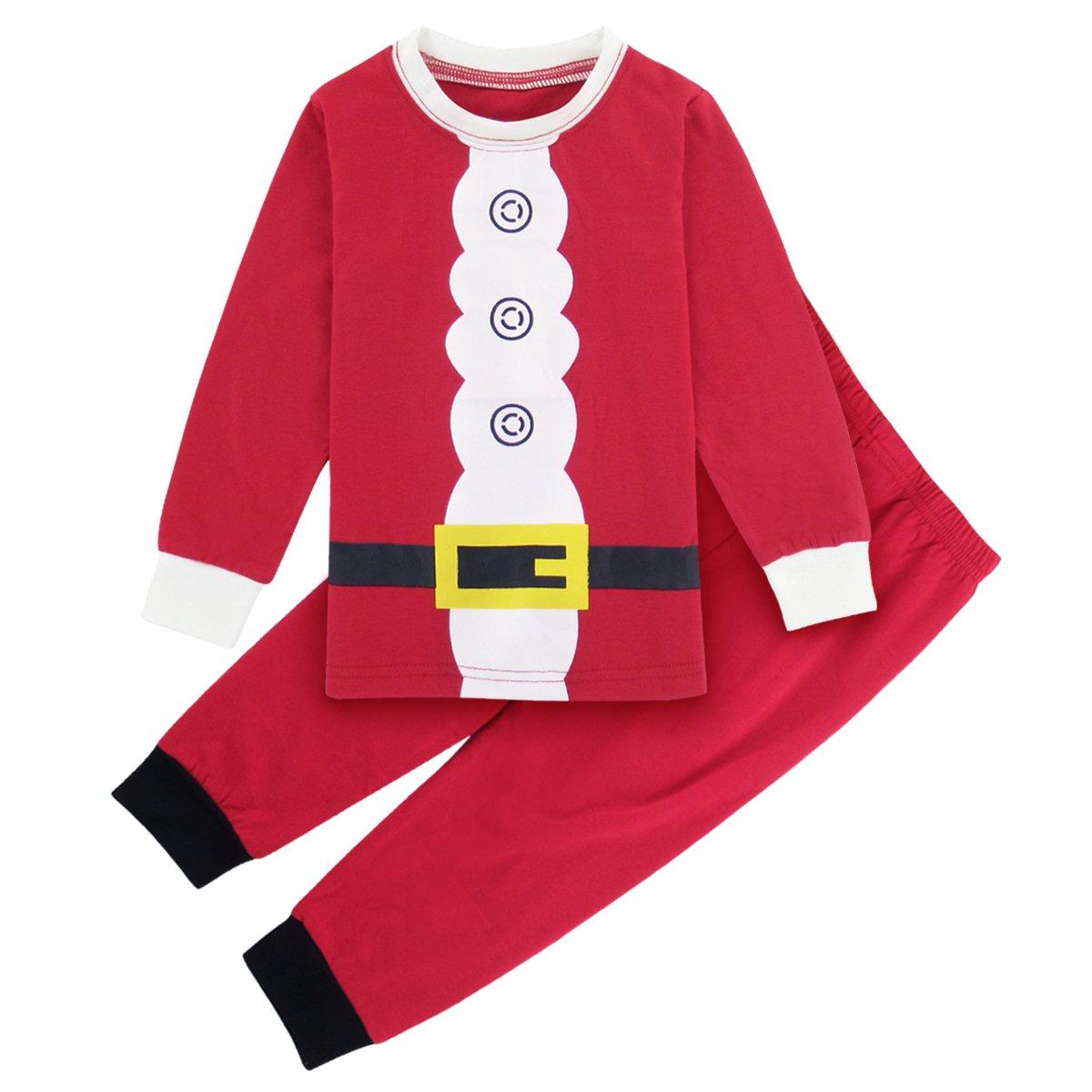 A& J Design Boys Girls Christmas Santa Claus Costume Pajamas Pjs 2 Piece Sets Red)