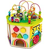 Deluxe 7 in 1 Bead Maze Cube Activity Center Multifunctional with Turning Base