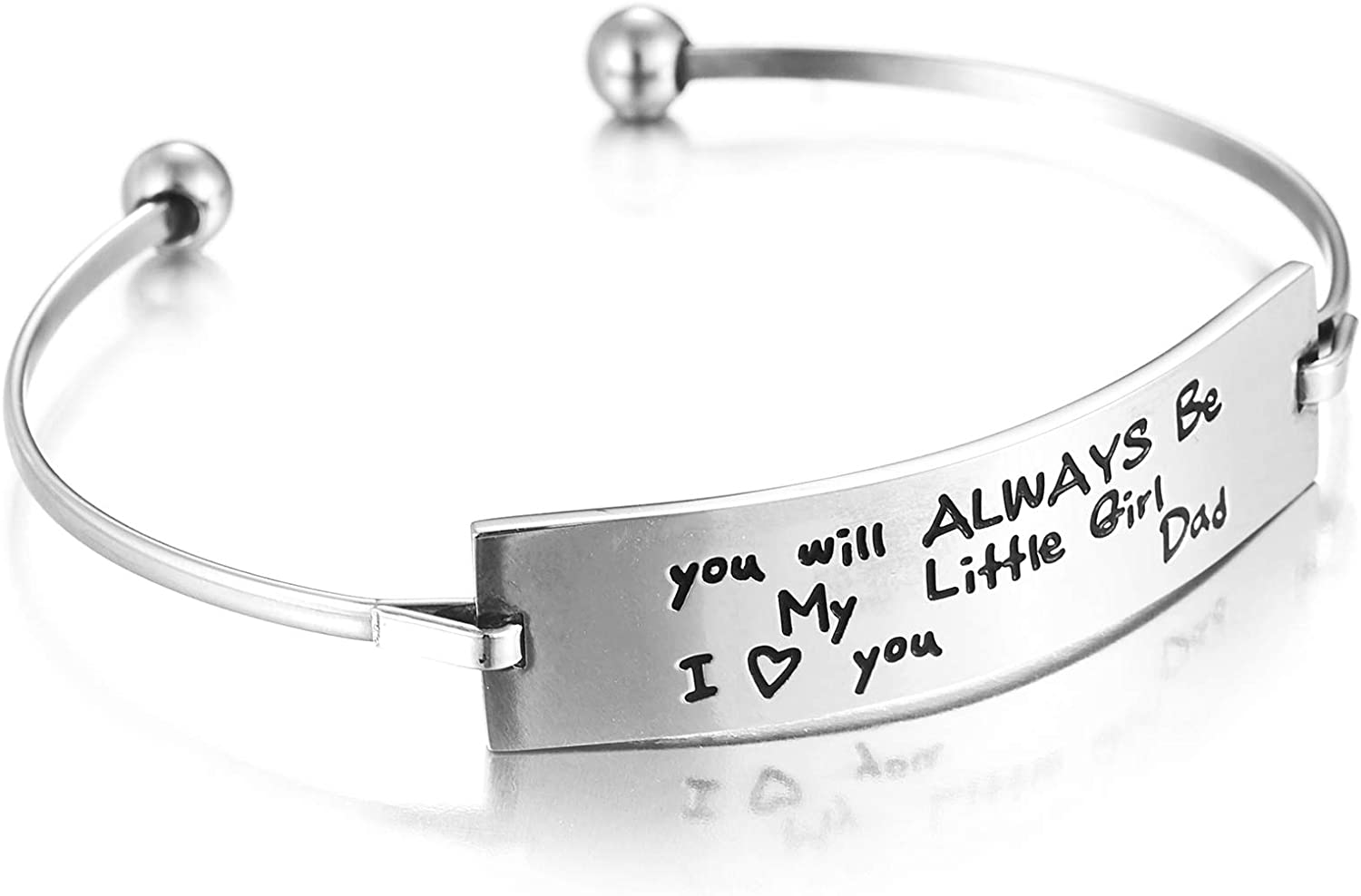 Melix Home Daughter Gifts from Dad You'll Always Be My Little Girl Bangle Daughter Birthday Present