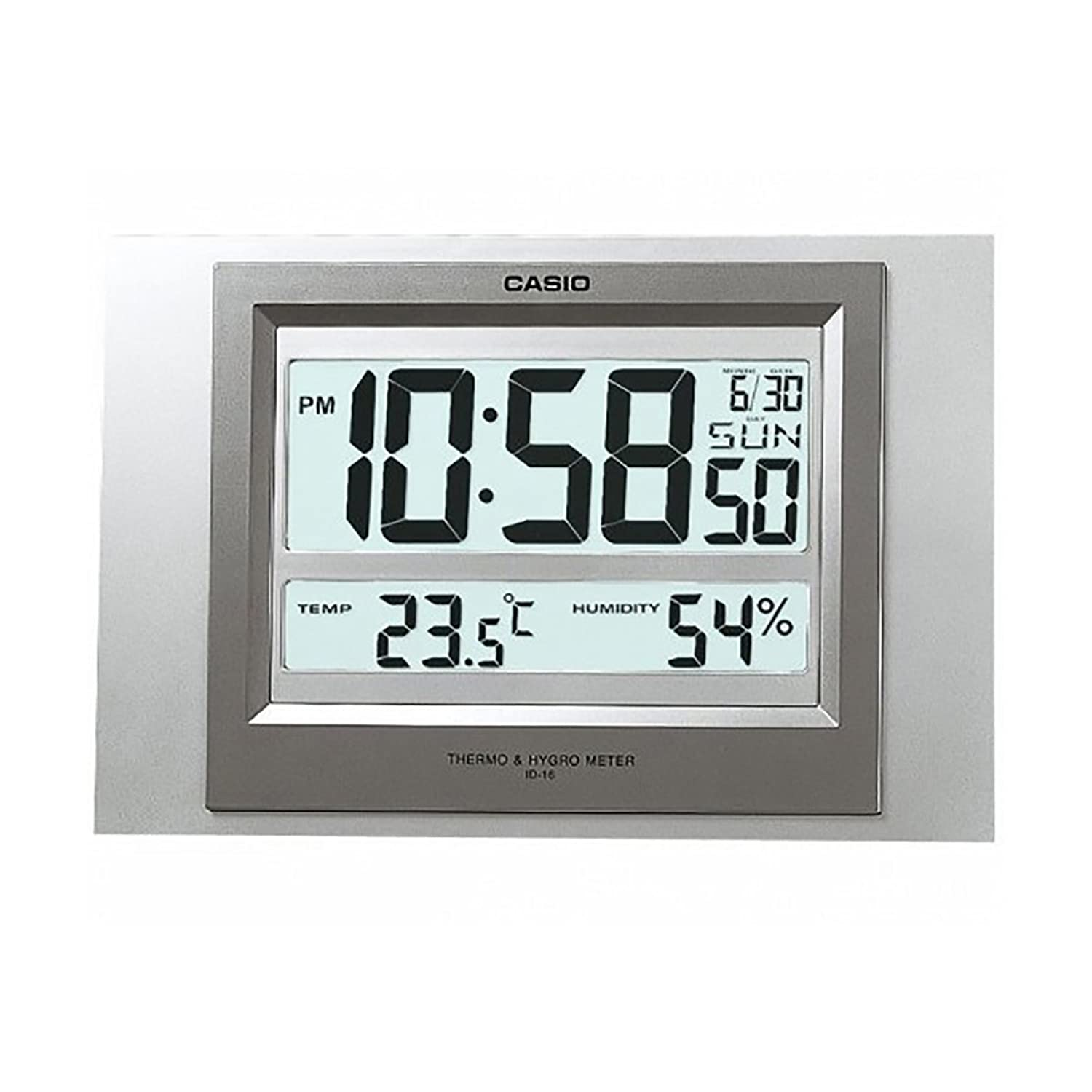 Amazon casio id 16s 8 digital auto calendar thermo hygrometer amazon casio id 16s 8 digital auto calendar thermo hygrometer wall and desk clock with indoor temperature blue black battery included watches amipublicfo Gallery